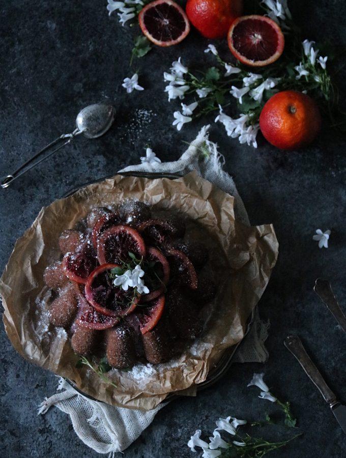 chokladsockerkaka med blodapelsin