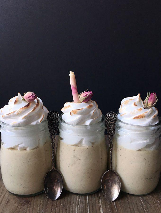 Pots de Crème med vanilj och bränd maräng