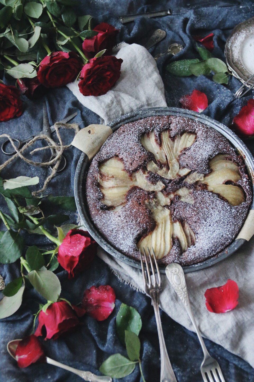 chokladkaka med päron