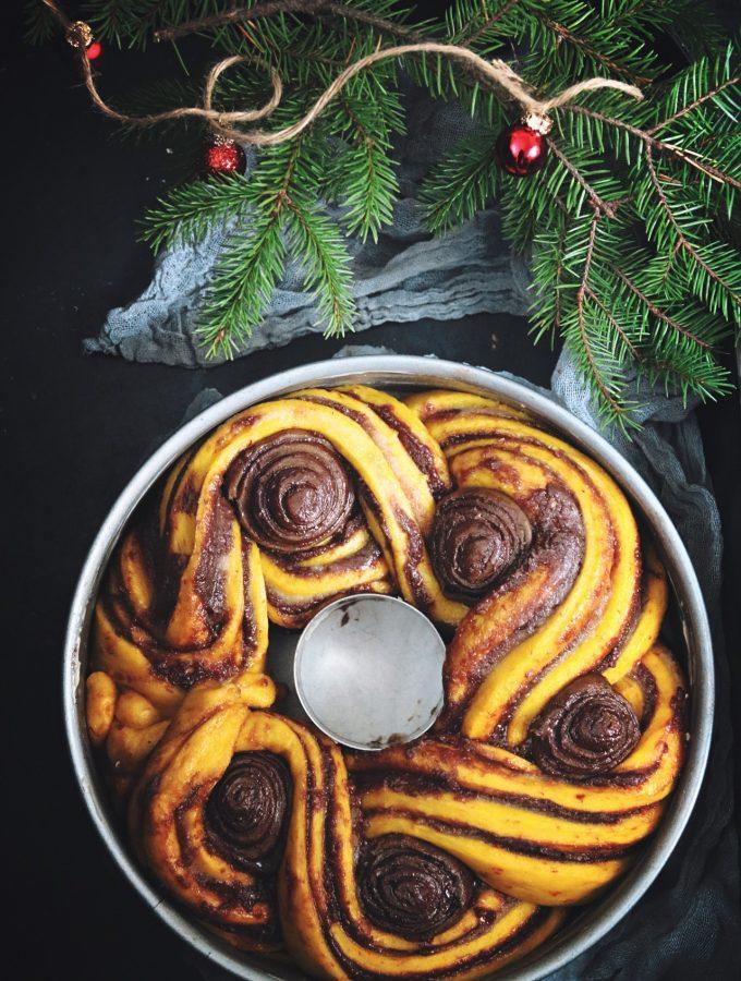 saffranskrans med choklad och nötter